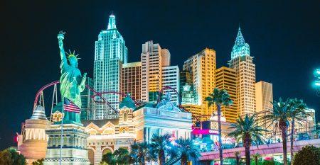 Las Vegas skyline illuminated at night, Nevada, USA